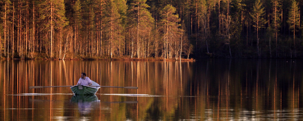 Rowing and relaxing on the beautiful lake